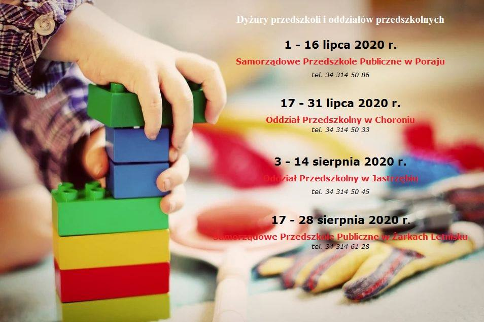 Więcej o: Dyżury wakacyjne przedszkoli i oddziałów przedszkolnych z Gminy Poraj dla dzieci rodziców pracujących
